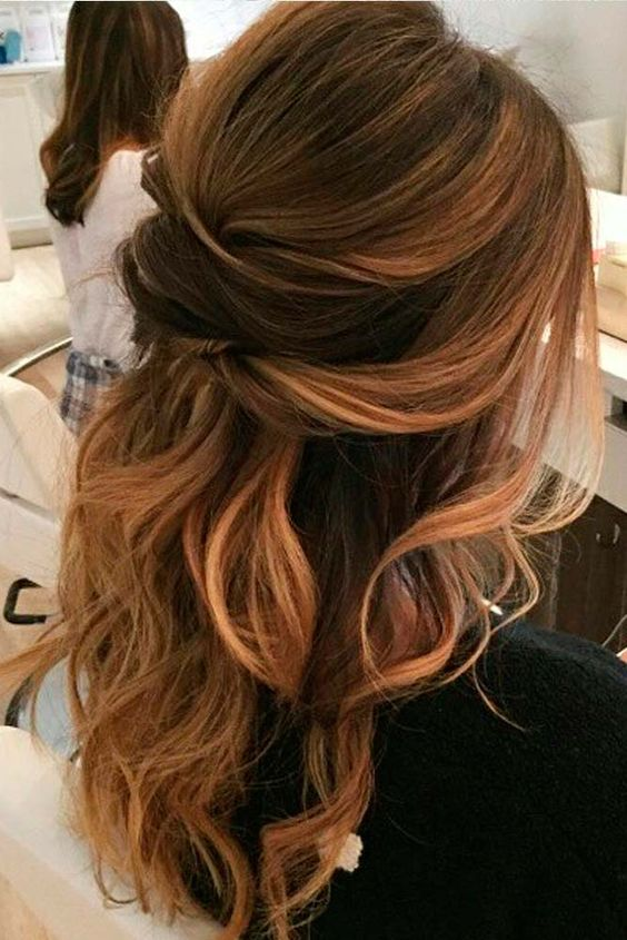 Picture Of A Wavy Half Updo With Several Twists Looks Sexy