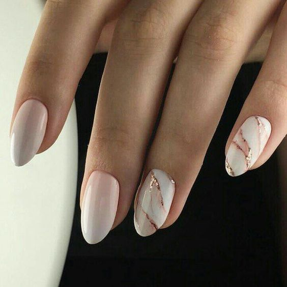 blush ombre nails and white marble with pink and rose gold touches