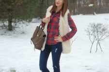 12 navy jeans, a plaid shirt, a creamy vest, brown booties
