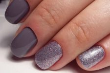13 grey manicure and silver glitter accent nails to pair it with