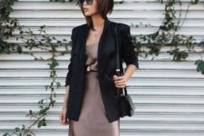 14 an elegant metallic knee dress, layered necklaces and a black blazer