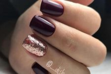 14 burgundy nails and an accent rose gold glitter one for a festive  eel