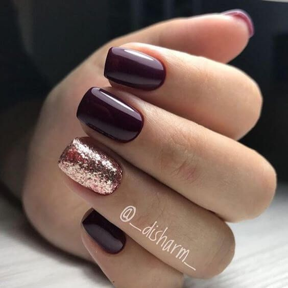 Picture Of Burgundy Nails And An Accent Rose Gold Glitter
