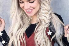 15 a large voluminous braid on one side and long waves