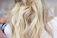 15 a simple half updo with twists, a bun and wavy hair down for an effortlessly chic look