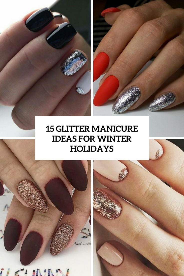 glitter manicure ideas for winter holidays cover