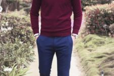 15 navy trousers, a burgundy sweater, a shirt and brown shoes