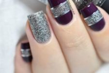 square nails in purple and silver