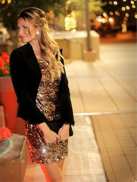 a rose gold sequin mini dress and a black jacket is all you need to look amazing