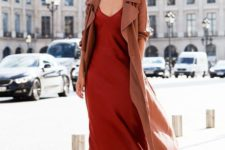 16 fiery red-colored silk slip dress, ankle bow shoes and a trench coat to stand out