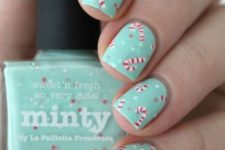 16 mint manicure with polka dots and candy canes will bring a whimsy and fun touch to your look
