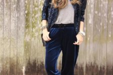 16 navy cropped velvet pants, a grey tee, a navy sequin blazer and black shoes