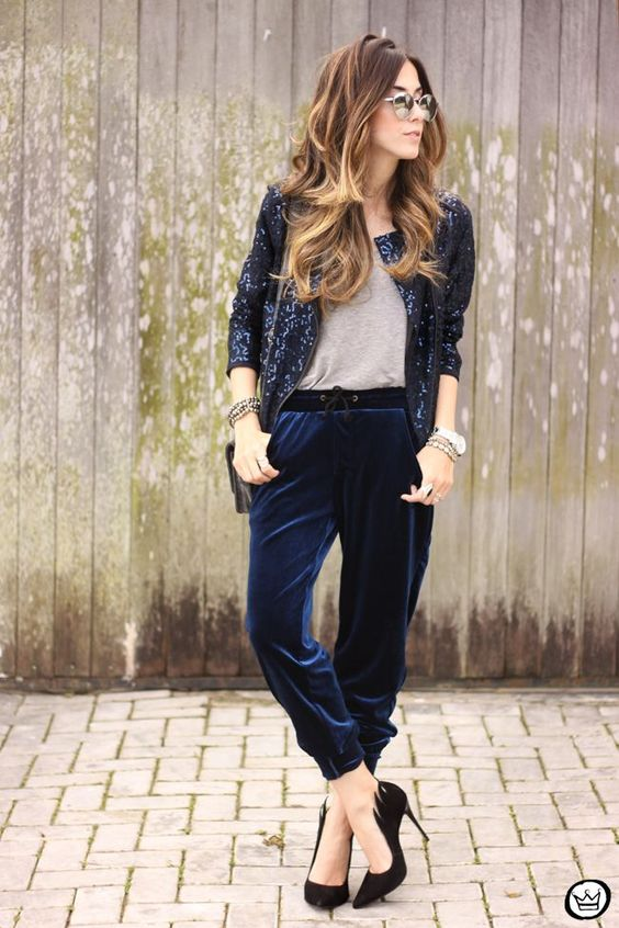 Picture Of Navy Cropped Velvet Pants A Grey Tee A Navy ...