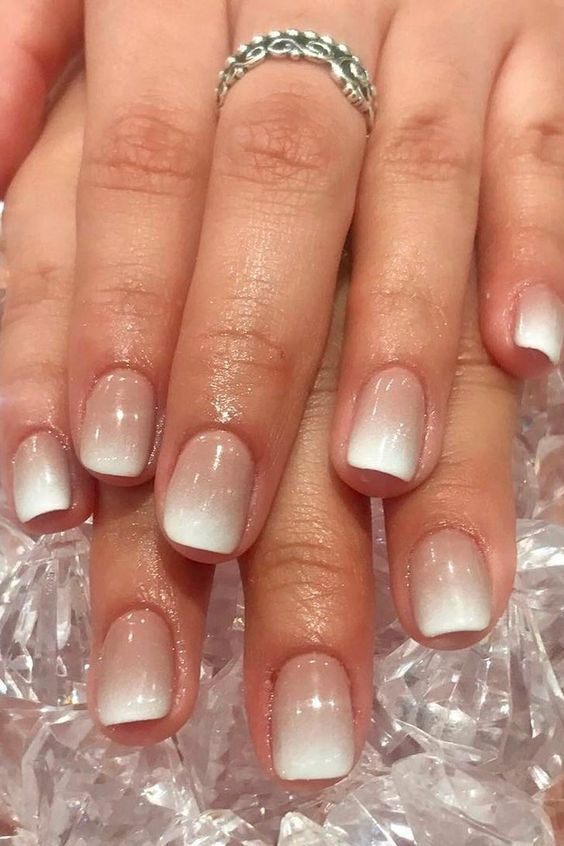 ombre French manicure is ideal for any time and looks frozen in winter