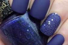 16 ultra-violet matte nails with a glitter accent nail are very bold and chic