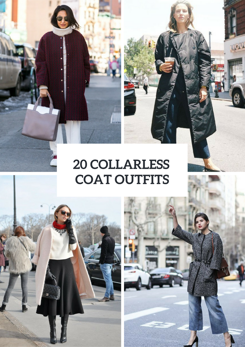 Collarless Coat Outfits For Women