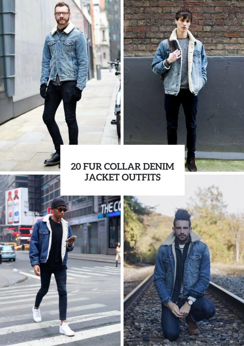 Fur Collar Denim Jacket Outfits For Men