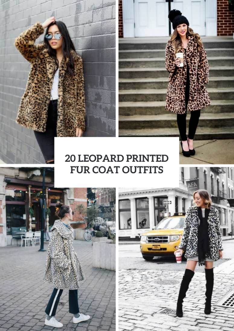 Leopard Printed Fur Coat Outfits