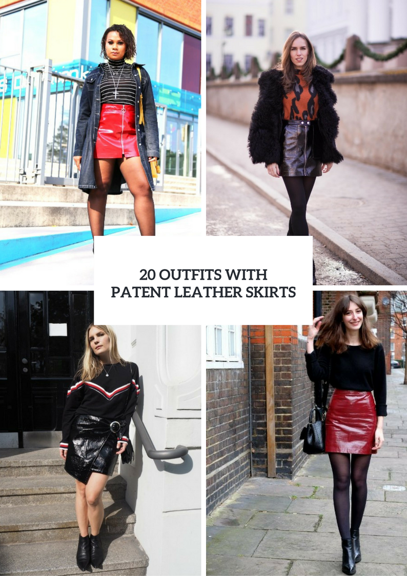 Outfits With Patent Leather Skirts For This Winter