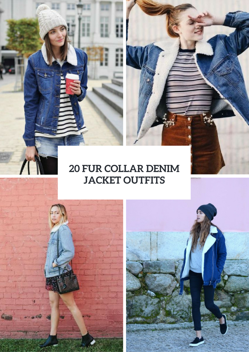 Women Outfits With Fur Collar Denim Jackets