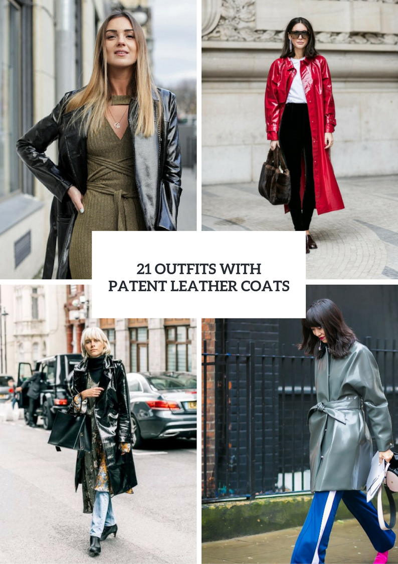 Winter Outfits With Patent Leather Coats