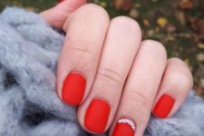 matte red nails for Christmas