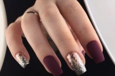 26 matte burgundy nails and gold glitter ones look very eye-catching and unusual