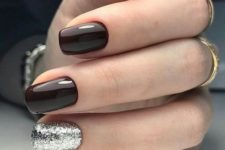 27 elegant black cherry nails with a silver glitter accent look very chic