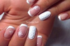 33 French manicure with snowflaks and cable knit accent nails look chic and unusual