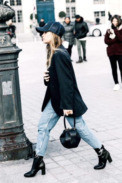 With black oversized blazer, crop jeans, black ankle boots and unique bag