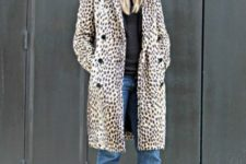 With black shirt, cuffed jeans, black pumps and animal printed coat