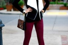 With black shirt, marsala pants, black high boots and leopard bag
