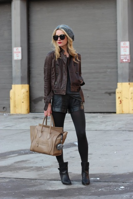 picture of with brown leather jacket beanie ankle boots and beige tote. Black Bedroom Furniture Sets. Home Design Ideas