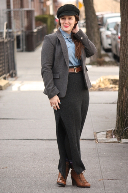 With button down shirt, brown belt, maxi skirt, brown ankle boots and tweed blazer