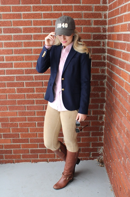 Picture Of With Button Down Shirt Navy Blue Blazer Beige
