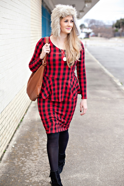 With checked dress, brown bag and suede boots