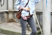 With checked shirt, denim jacket, printed scarf, crossbody bag and gray jeans