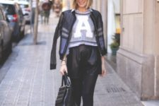 With crop sweater, white sneakers and jacket