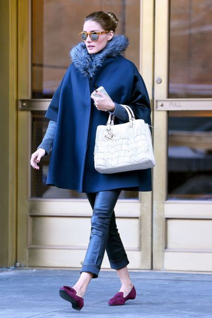 With cuffed jeans, purple flats and white bag