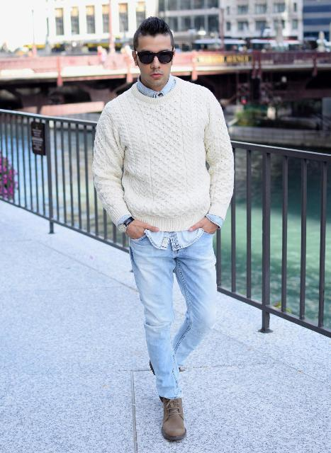 With denim shirt, white sweater and light blue jeans