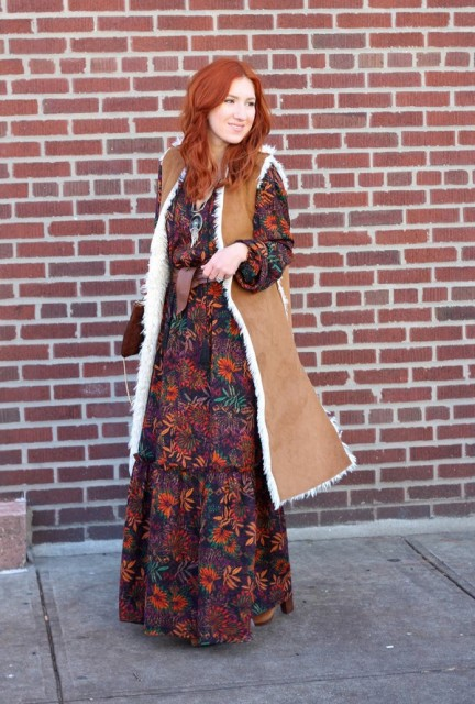 With floral maxi dress