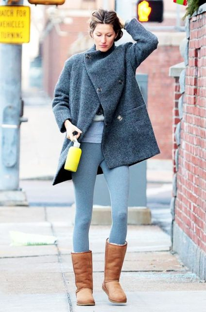 With gray leggings, gray loose coat and shirt