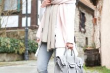 With gray pants, light gray bag, pale pink jacket and scarf