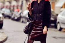 With jacket, heeled boots and black bag