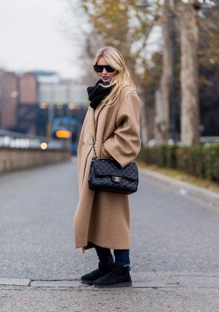 With jeans, black scarf, camel midi coat and chain strap bag