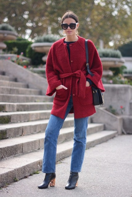 With jeans, colored heel boots and black bag