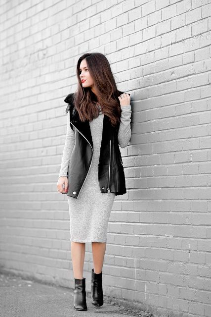 With light gray midi dress and black leather ankle boots