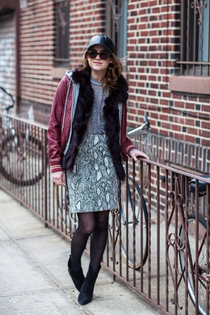 With marsala jacket, printed skirt and black suede boots