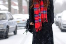 winter look with a plaid scarf