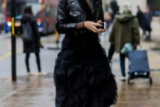 With midi dress and leather jacket